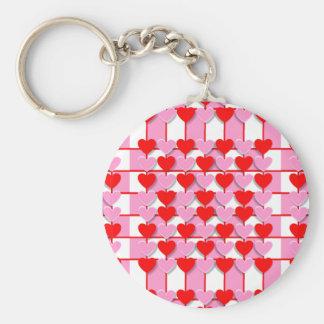 Checkerboard Valentine Hearts Basic Round Button Keychain