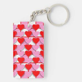 Checkerboard Valentine Hearts Double-Sided Rectangular Acrylic Keychain
