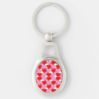 Checkerboard Valentine Hearts Silver-Colored Oval Metal Keychain