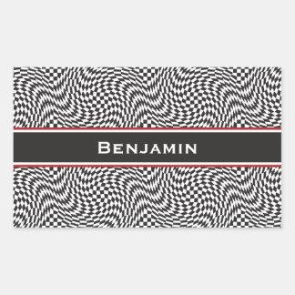 Checkerboard Warp Rectangular Sticker