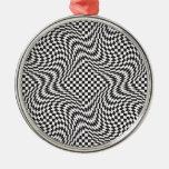 Checkerboard Warp Round Metal Christmas Ornament