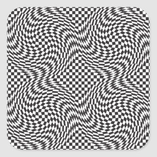 Checkerboard Warp Square Sticker