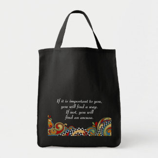 Checkerboard Whimsy Affirmation Canvas Bag