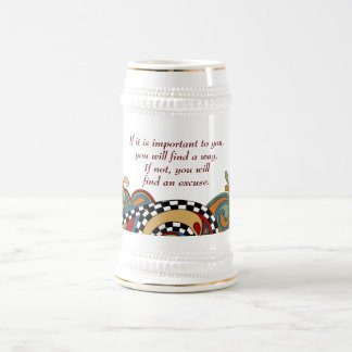 Checkerboard Whimsy Affirmation Ceramic Stein