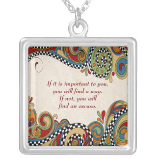 Checkerboard Whimsy Affirmation Necklace
