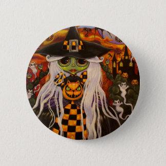 Checkerboard Witch Halloween Button