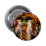 Checkerboard Witch Halloween Button