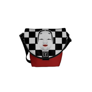 Checkerboard with Oriental Mask Courier Bags