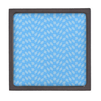 Checkered Aqua Wave Pattern Jewelry Box