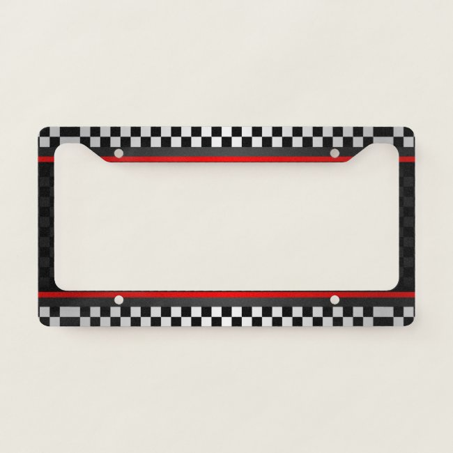 Checkered Auto Racing Design License Plate Frame