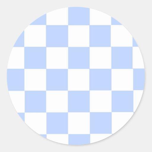 Checkered Baby Blue Classic Round Sticker