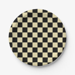 Checkered Beige and Black Paper Plate  sc 1 st  Zazzle & Black And Checkers Plates | Zazzle
