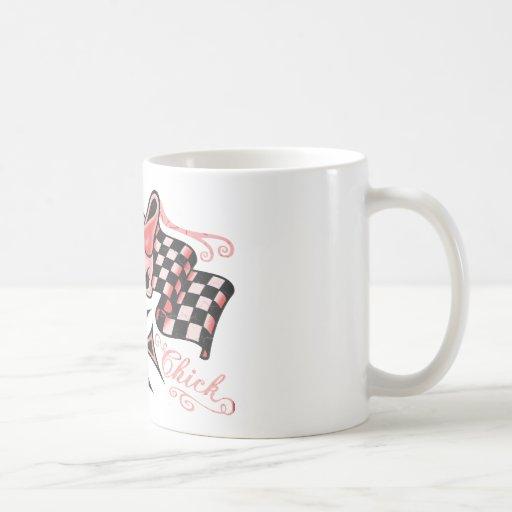 Checkered Biker Chick Classic White Coffee Mug
