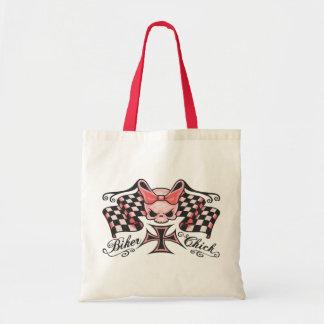 Checkered Biker Chick Tote Bag