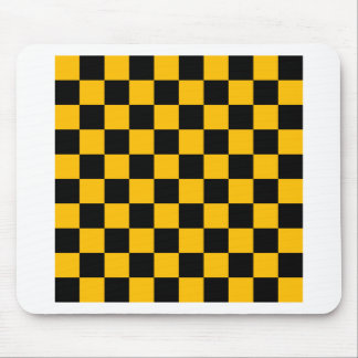 Checkered - Black and Amber Mouse Pad
