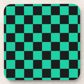 Checkered - Black and Caribbean Green Beverage Coasters