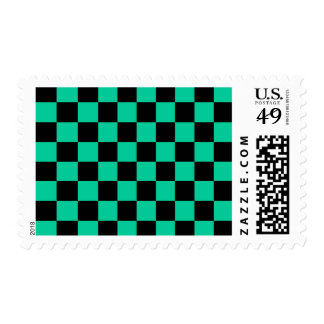 Checkered - Black and Caribbean Green Postage Stamp