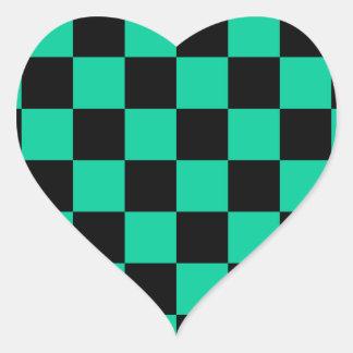 Checkered - Black and Caribbean Green Heart Sticker