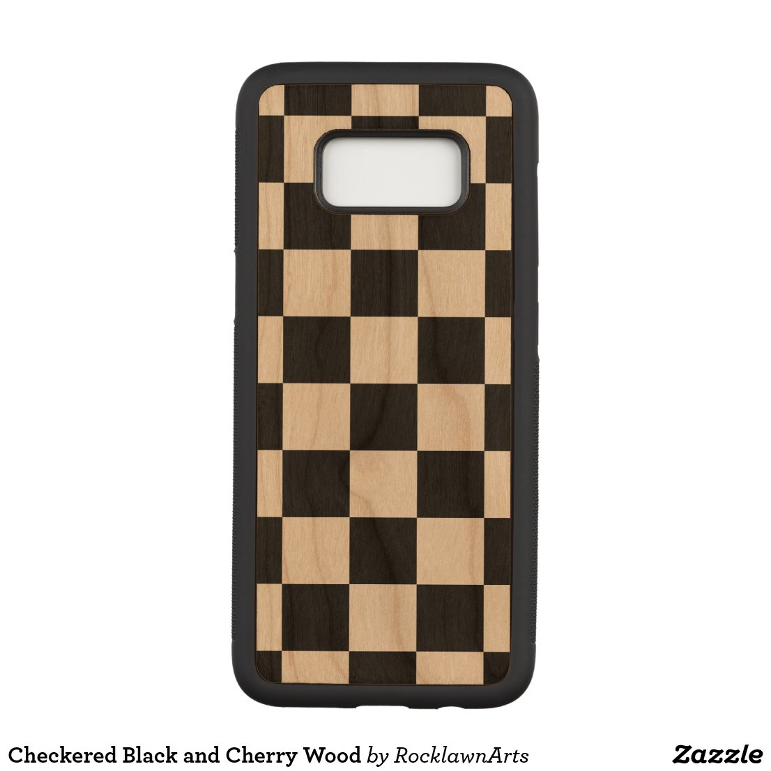 Checkered Black and Cherry Wood Carved Samsung Galaxy S8 Case