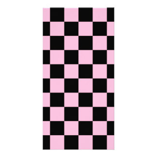 Checkered - Black and Cotton Candy Custom Photo Card