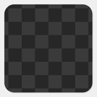 Checkered - Black and Dark Gray Square Sticker
