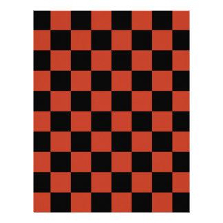 Checkered - Black and Dark Pastel Red Letterhead