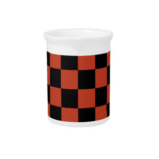 Checkered - Black and Dark Pastel Red Drink Pitchers