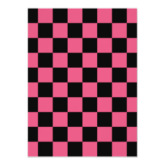 Checkered - Black and Dark Pink 5.5x7.5 Paper Invitation Card
