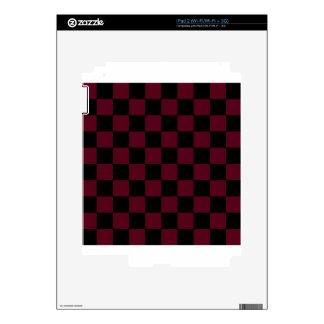 Checkered - Black and Dark Scarlet iPad 2 Decals