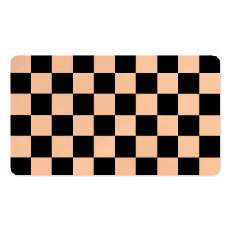 Checkered - Black and Deep Peach Business Cards