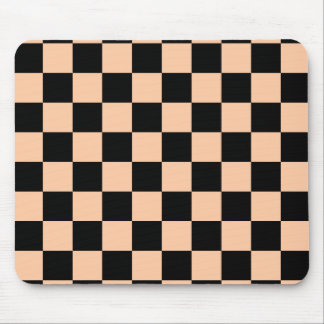 Checkered - Black and Deep Peach Mouse Pad