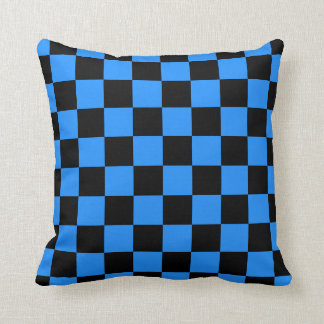 Checkered - Black and Dodger Blue Pillow