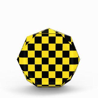 Checkered - Black and Golden Yellow Acrylic Award