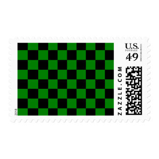 Checkered - Black and Green Postage Stamp