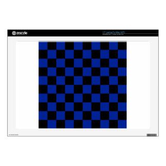 "Checkered - Black and Imperial Blue 17"" Laptop Skins"