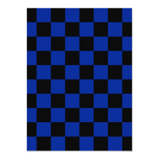 Checkered - Black and Imperial Blue 5.5x7.5 Paper Invitation Card