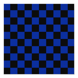 Checkered - Black and Imperial Blue 5.25x5.25 Square Paper Invitation Card