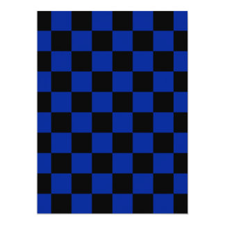 Checkered - Black and Imperial Blue 6.5x8.75 Paper Invitation Card