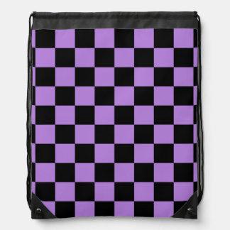 Checkered - Black and Lavender Drawstring Backpack
