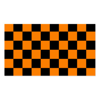 Checkered - Black and Orange Business Card