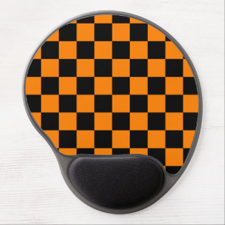 Checkered - Black and Orange Gel Mouse Pad