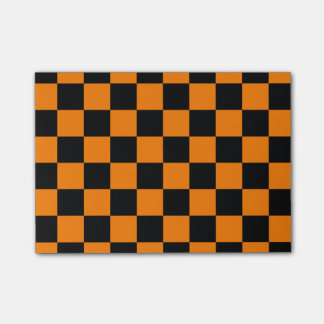 Checkered - Black and Orange Post-it® Notes