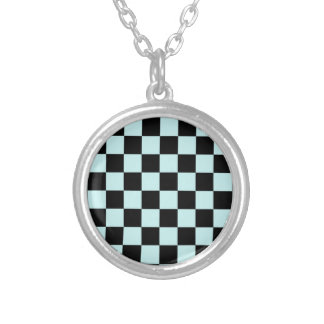 Checkered - Black and Pale Blue Round Pendant Necklace