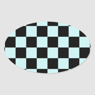Checkered - Black and Pale Blue Oval Sticker