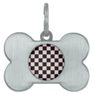 Checkered - Black and Pale Pink Pet ID Tag
