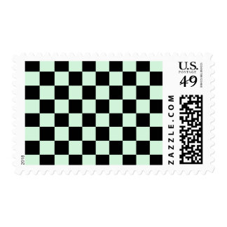 Checkered - Black and Pastel Green Postage