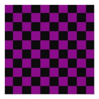 """Checkered - Black and Purple 5.25"""" Square Invitation Card"""