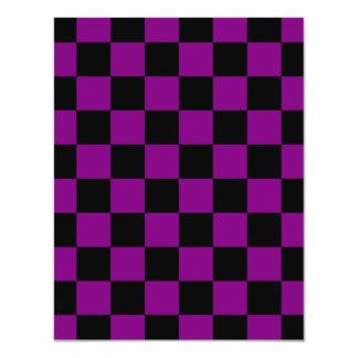 """Checkered - Black and Purple 4.25"""" X 5.5"""" Invitation Card"""