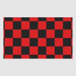 Checkered - Black and Rosso Corsa Rectangular Stickers