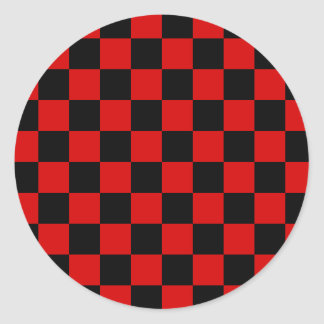 Checkered - Black and Rosso Corsa Round Stickers